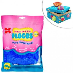 Massa de Eva Flocos Metal Azul 50g - Make +