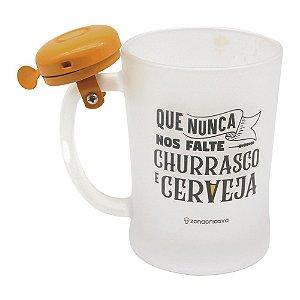 Caneca Com Campainha Churrasco e Cerveja Única - Zona Criativa