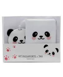 Kit Viagem Passaporte e Tag Panda - Zona Criativa