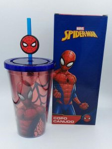Copo C/ Canudo e Pingente Spider Man - Zona Criativa