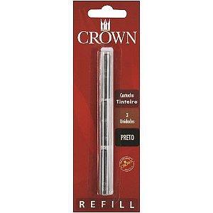Refil Tinteiro C/3 Preto-Crown