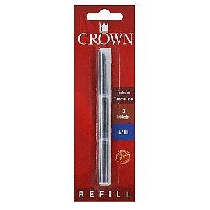 Refil Tinteiro C/3 Azul-Crown