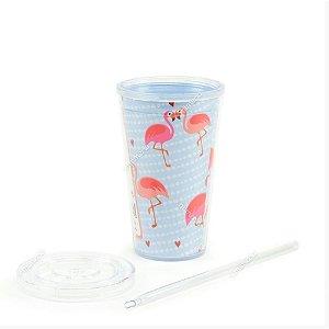 Copo Com Canudo 500 ml Flamingo-Mood