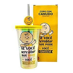 Copo Canudo C/Pingente  Charlie  Snoopy -  Zona Criativa