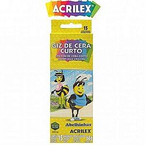 Giz De Cera Curto 15 Cores- ACRILEX