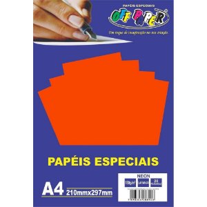 Papel Neon Laranja A4 180g 20 fls - Off Paper