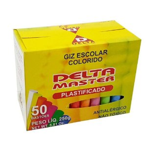 Giz Escolar Plastificado Colorido Palitos Caixa  - Delta