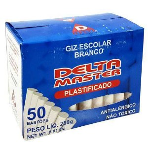 Giz Escolar Plastificado Branco 50 Palitos - Delta