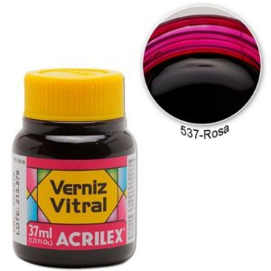 Verniz Vitral 37ml Rosa - Acrilex