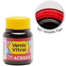 Verniz Vitral 37ml Vermelho Fogo - Acrilex