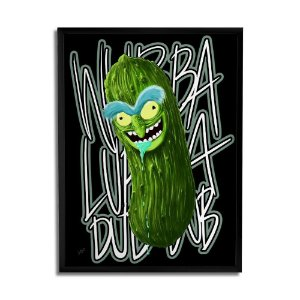 Quadro Decorativo Pickle Rick Preto A3 By Samuel Sajo - Beek
