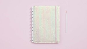 Caderno Rosa Holografico - Grande - Caderno inteligente