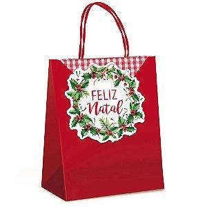 Sacola Papel Fechamento Natal M - Cromus