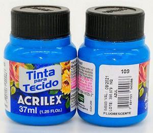 Tinta tecido fluorescente Azul - Acrilex