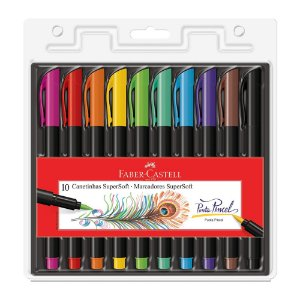 Hidrografica Supersoft - Brush 10 Cores - Faber-Castell