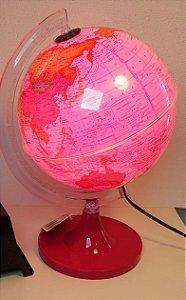 Globo Terrestre 21 cm aquarela rosa led branco base magenta - Libreria