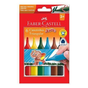 Canetinha Triangular Jumbo 6 Cores - Faber-Castell