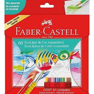 Lápis De Cor Aquarelável Ecolápis 60 Cores -Faber-Castell