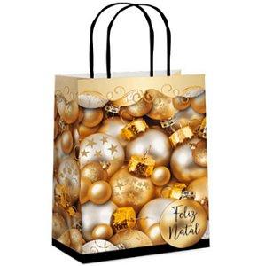 Sacola Feliz Natal Ouro P-Cromus