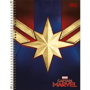 Caderno Universitário Capitã Marvel 10 Matéria - Tilibra