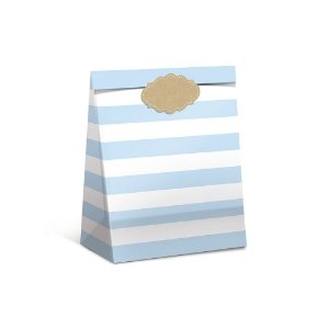 Pacote Para Presente Listra Azul M 26x19,5x9,5 - Cromus
