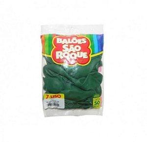 Balão 7 Liso C/50 Verde Folha - São Roque