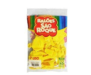 Balão 7 Liso C/50 Amarelo Citrino - São Roque
