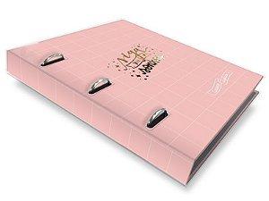 Caderno argolado Rosa quadriculado-Fina Ideia