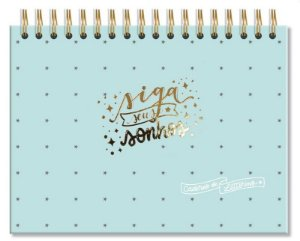 Caderno de lettering  40 folhas pretas Verde estrelas-Fina Ideia