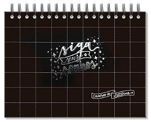 Caderno de lettering 40 folhas pretas Preto quadriculado- Fina Ideia