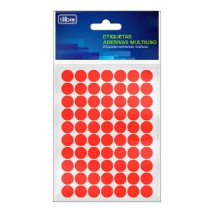 Etiqueta Multiuso 13mm Vermelho Fluorescente 6 Folhas 420 Folhas -Tilibra