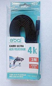 Cabo HDMI 4k Fita 3 Metros 3D Ebai