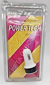 Carregador de Celular Power Tech Veicular USB Com 2 USB 12v - 24v