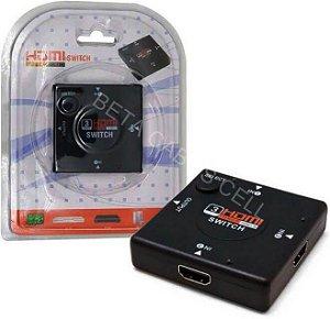 Adaptador Switch 3x1 Divisor 3 Portas Hdmi Tv Notebook Ps3 Xbox