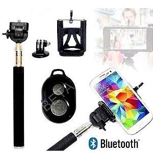 Pau De Selfie Monopod + Controle Bluetooth + Suporte Celular