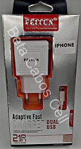 Carregador Tomada Iphone 5 Feitun 2 USB 2.1A