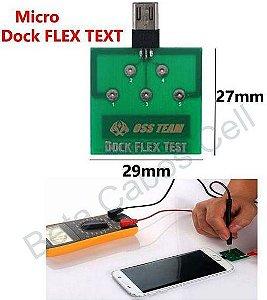 Dock Flex Test Android Micro USB V8 Placa de Diagnóstico para Teste de Carregamento e de Bateria