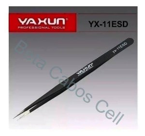 Pinça Reta Yaxun YX 11Esd Aço Inox Antiestatica Preta 140x6mm YX-11Esd