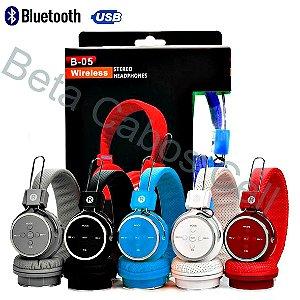 Fone De Ouvido B-05 B05 B 05 Sem Fio Sd Usb Fm Bluetooth