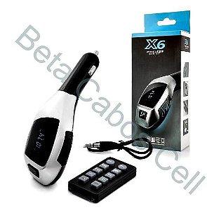 Transmissor Fm Adaptador X6 Carregador De Carro MP3 Player Sem Fio Bluetooth Transmissor Fm Adaptador