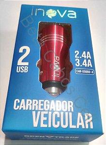 Fonte Veicular Inova Duplo USB 2.4A e 3.4A Aluminio