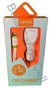 Fonte Veicular Duplo com Cabo Iphone Kaidi KD 603 com 2 USB D***
