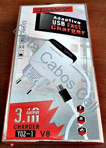Carregador Parede V8 Duplo USB Hmaston Y02-1 com 2 USB D***