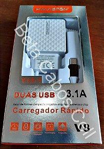 Carregador Parede V8 USB Duplo Hmaston Y 12-1 com 2 USB D***
