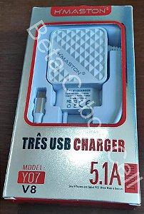 Carregador Tomada 3 USB V8 Y07 5.1A D***