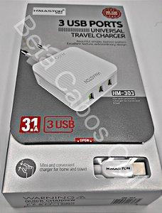 Carregador Hmaston HM 303 HM303  Cabo type C com 3 USB 3.1A H***