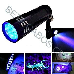 Lanterna Luz Roxa 9 Leds Verificação Cura de Cola UV Cola Frontal - Dinheiro Falso - Caça Escorpião