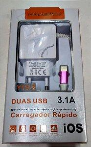 Carregador Hmaston Iphone 3.1a 2 USB