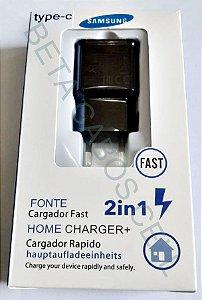 Carregador Fast Type c Tipo C Turbo Caixa Azul