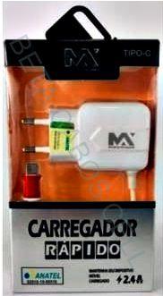 Carregador Rapido Type C Tipo C Maxmidia V8 2.4A Max Car93